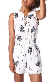 White lace up plunge romper in floral print