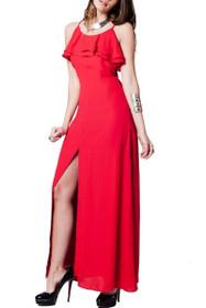Giselle Ruffle Slit Maxi Dress