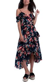 Summer Floral Cold Shoulder Dress in Black