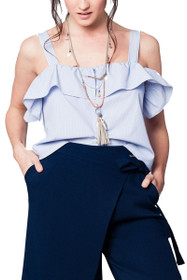 Lesia Cold Shoulder Ruffle Top in Blue