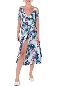 Summer Floral Cold Shoulder Dress in White
