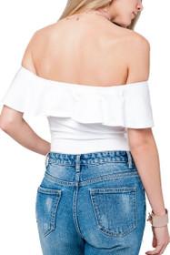 Kiki Ruffle Off Shoulder Bodysuit in White