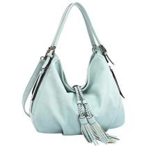 Trudy Vegan Tassel Hobo Bag in Mint