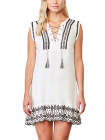 Paige Embroidered Lace-Up Sleeveless Dress
