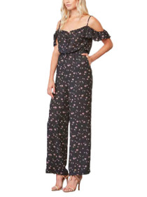 Arleen Cold Shoulder Wide Leg Printed Jumpsuit