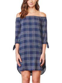 Ashtyn 3/4 Sleeve Plaid Off Shoulder Dress