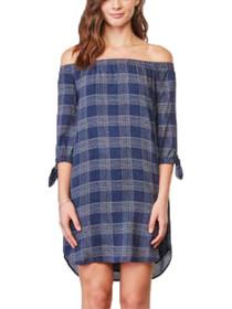 Ashtyn 3/4 Sleeve Plaid Off Shoulder Dress