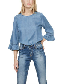 Lissy 3/4 Frill Sleeve Chambray Top