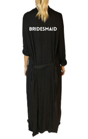 Bridesmaid* Classic Freefall Luxe Maxi Robe in Black