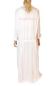 Bridesmaid* Script Freefall Luxe Maxi Robe in White