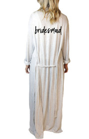 Bridesmaid* Script Freefall Luxe Maxi Robe in Grey