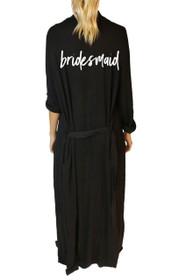 Bridesmaid* Script Freefall Luxe Maxi Robe in Black
