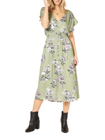 Wanderer Short Sleeve Floral Midi Dress