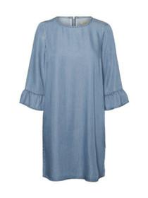 Lissy 3/4 Ruffle Sleeve Chambray Dress