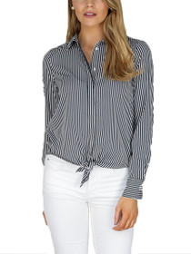 Nicky Long Sleeve Tie Button Down Top
