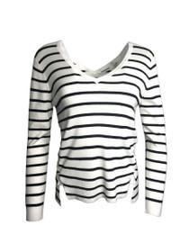 Faded Side Tie Long Sleeve Stripe Sweater