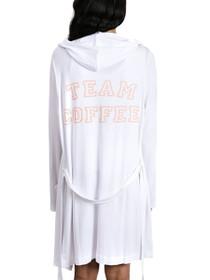 Team Coffee Hooded Robe in White/Peach Keen