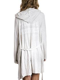 Team Brunch Hooded Robe in Grey/White