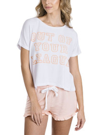 Out Of Your League Graphic Set in White/Peachy Keen
