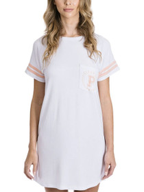 Game On Short Sleeve Nighty in White/Peachy Keen