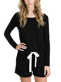 Social Long Sleeve Romper in Black