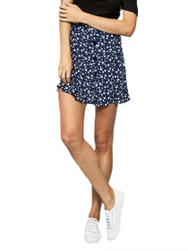 Shady Days Pattern Button Front Skirt