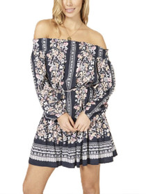 In Bloom Off The Shoulder Long Sleeve Mini Dress