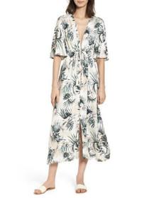 Coastal Roaming Floral Batwing Midi Dress