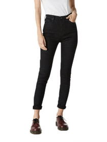 Mila High Waist Skinny Denim in Overdye Black