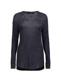 Kaki Long Sleeve Deep V-Neck Knit Blouse
