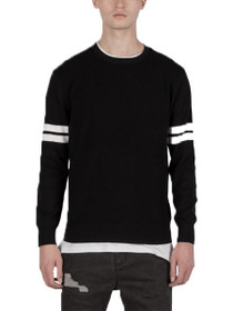 Armband Crew Neck Knit Jersey Pullover