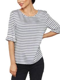 Akira Short Sleeve Stripe Frill Top