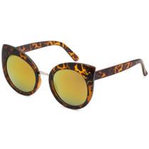 Round Cat Eye Style Mirrored Sunglasses