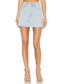 Deconstructed Denim Mini Skirt in Live Wire