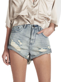 Bandits High Waist Denim Short in Blue Storm