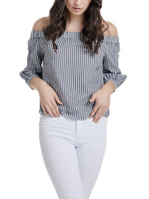 Janice Off The Shoulder Stripe Denim Top