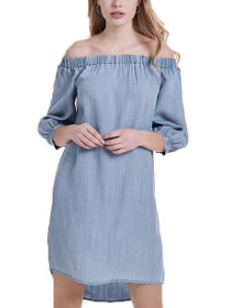 Janice Off The Shoulder Denim Dress