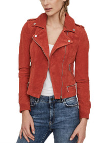 Royce Short Suede Moto Jacket