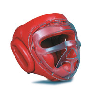 GTMA Leather Headgear w/ clear cage (Red Color Only)