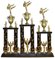 "22"" ~ 26"" Two Column Trophy with Plastic Base, Cup, Kicking Figurine"