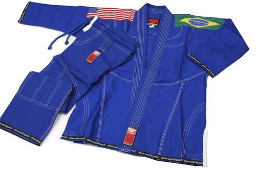 GTMA Platinum Brazilian Jiu-jitsu uniform.  Blue with white stitching option shown.
