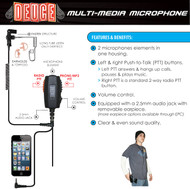 Never miss a call! Now with the DEUCE you can connect your two-way radio and mobile phone to the same microphone.