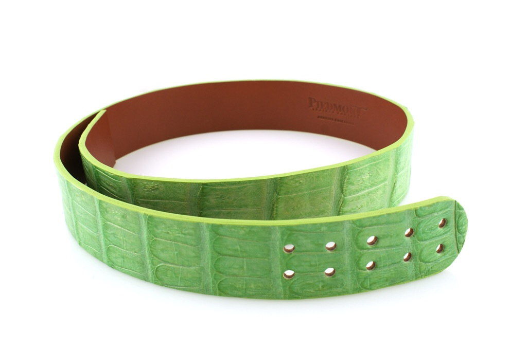 Matte Caiman Lime With Matching Stitch and  Edge.   ( More stitch and edge options in build your unique crocodile  belt )  Shown Strap Cut for 59 Buckle (Available in Width Option Set)