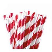 Paper Straws - Red / White Stripe