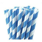 Paper Straws - Blue / White Stripe