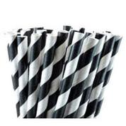 Paper Straws - Black / White Stripe