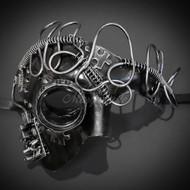 Steampunk Phantom Masquerade Mask Silver M39078