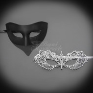 Darker Couple's Collection | Classic Black and Silver Masquerade Mask Set