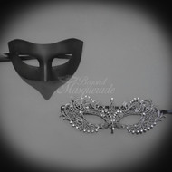 Darker Couple's Collection | Classic Black and Grey Masquerade Mask Set