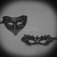 Darker Couple's Collection | Classic Black Masquerade Mask Set